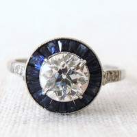 Vintage Art Deco .86ct Center Diamond and Sapphire Platinum Engagement Ring