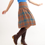 Vintage 1960s Wool Skirt - 60s Plaid Skirt - Blue and Brown Plaid