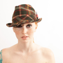 Vintage Fedora - 1970s Wool Fedora - Forest Green Plaid