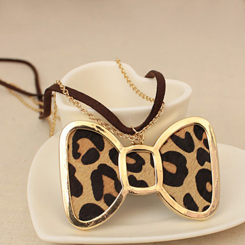 Sweet Leopard Stripe Bow Tie Ladies Necklace : Wholesaleclothing4u.com