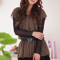 Wholesale Stylish Noble Dot Slim Fake Two Piece Dress Coffee