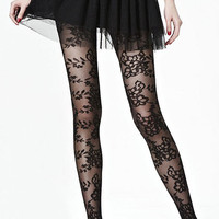ROMWE | Flower Lace Black Tights, The Latest Street Fashion