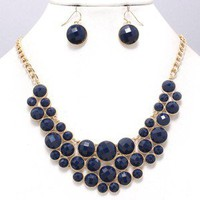 Navy Blue Bubble Deco Gold Elegant Chunky Fashion Jewelry Necklace Earring Set