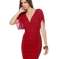 Sultry Red Dress - Chiffon Dress - Surplice Bodice Dress