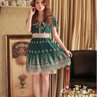 [Free Shipping] Vintage Style Short Sleeve Falbala Chiffon Dress AF705 Green
