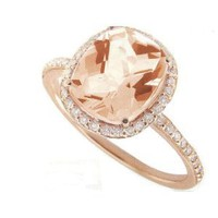 Meira T 14K Rose Gold & Diamonds - Cushion Cut Pink Morganite Center Stone - Right Hand Ring