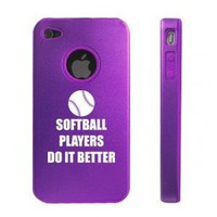 Amazon.com: Apple iPhone 4 4S Purple D7305 Aluminum & Silicone Case Cover Softball Players Do It Better: Cell Phones & Accessories