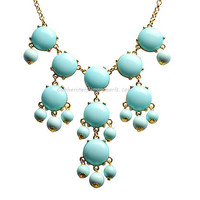 Turquoise Blue Bubble Necklace Mini Bubble Bib by BubbleJewellery