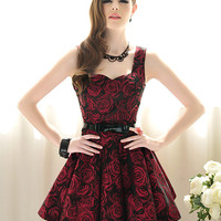 Rose Pattern Sleeveless Fashion Party Wedding Dress