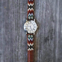 Native American inspired hand-beaded watch.brown,leather,handmade,hippie,boho,hipster
