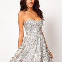 ASOS Strapless Prom Dress in Sequin at asos.com