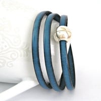 Dark turquoise blue triple wrapped leather by TyssHandmadeJewelry