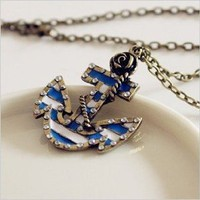 Amazon.com: Fashion Vintage Bronze Chain Anchor Shape Pendant Long Chain Necklace Clothes: Home &amp; Kitchen