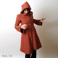 Red hooded Coat with tall collar Camille Red artisanal by Malam