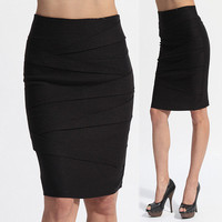 MOGAN S~3X Tiered Bandage High Waisted PENCIL KNEE SKIRT Chic Stretch Woven Slim