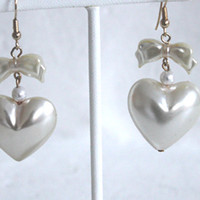 80s PEARL HEART & Bow Bubble Charm Dangle Drop Earrings