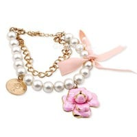 Fashion Pearl&amp;Flower Charm Beaded Strand Bracelet at Online Jewelry Store Gofavor