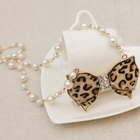 Leopard Grain Bowknot Girls Pearls Necklace : Wholesaleclothing4u.com