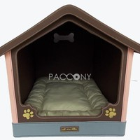 House Style Leather Pet Beds (Coffee)
