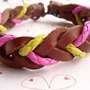 Wholesale Fashion Rose Yellow Braided Leather Bracelet