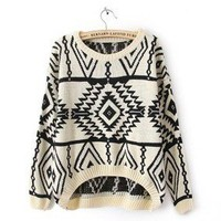 Beige Long Sleeve Geometric Pullovers Sweater from Fashion Accessories Store