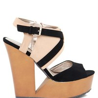 A'GACI Luke 13 Contrast Cut Out Nubuck Wood Wedge - WEDGES