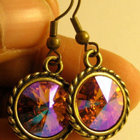 "Handmade Fushia Swarovski Crystal Earrings, Rivoli Style, on Brass Settings - ""Bronze Goddess"" - by DaisyBell Beads"
