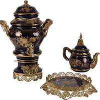 One Kings Lane - Joseph Pubillones - Russian Samovar, Teapot & Cake Plate