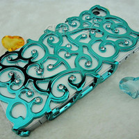 Iphone 4 Case - Handmade Lovely Blue Bling Crystal Hollow Pattern Hard Back Chrome Case Cover for iPhone 4 4G 4S