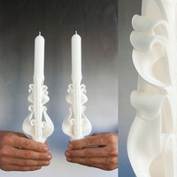 Taper candles - Unity Candle set - Wedding candles - White candles