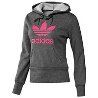 Amazon.com: adidas Trefoil Hoodie Dark Grey Heather/Super Pink XS: Clothing