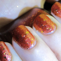 Rebel Heart Nail Polish - MINI - cherry red jelly with gold glitter and shimmer