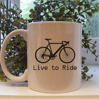 Set of Two Bicycle Coffee Mugs Live to Ride by Mugsleys on Etsy