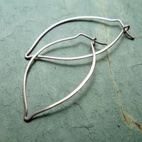 Silver Leaf Earrings Sterling Silver Leaf Hoop by ArtistiKat