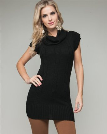 Amazon.com: G2 Chic Short Sleeved Cable Knit Cowl Neck Sweater: Clothing