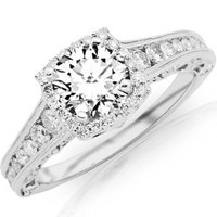 Amazon.com: 1.79 Carat Vintage Halo Style Channel Set Round Brilliant Diamond Engagement Ring Milgrain with a 1.04 Carat Round Cut I-J Color I1 Clarity Center Stone and 0.75 Carats of Side Diamonds: Jewelry