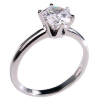 Classic 1.25ct CZ Sterling Silver Solitaire Engagement Ring with Tiffany Diamond Setting (avail. sizes 4 to 11): Jewelry: Amazon.com