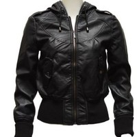 Amazon.com: Ladies Black Synthetic Hooded Leather Jacket: Clothing