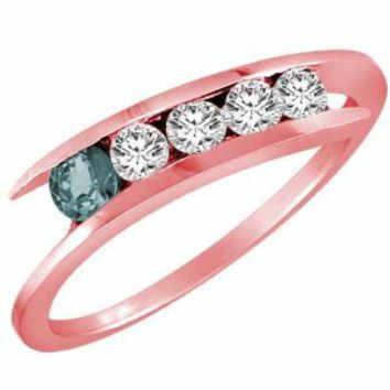 Amazon.com: 10K Gold 5 Stone Graduated Diamond and Aquamarine Accented Band Ring (2/5 ctw): DivaDiamonds: Jewelry