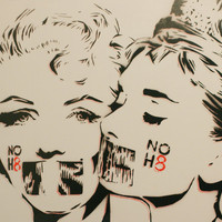 Marilyn Monroe Loves Audrey Hepburn GREY VRSN 12x12 Original Painting Stencil Spray Paint and Acrylic Paint Comic Portrait Art