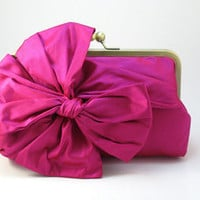 Classic Bow Clutch Purse  Fuchsia by DavieandChiyo on Etsy