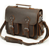 Thick Full Grain Leather Messenger Bag by MyLeatherBriefcase