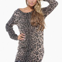 Leopard Print Long Sleeve Brown Jumper