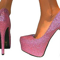LADIES GLITTERY CONCEALED PLATFORM STILETTO EXTREME HIGH HEELS COURT SHOES 3-8