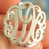 Monogram Cut Out Sterling or Gold 3 Initial Ring- Raised