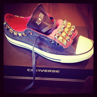 New Custom studded Converse  with double tongue, denim and pink, size 8 women