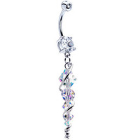 Handcrafted Austrian Crystal Sterling Icicle Drop Belly Ring | Body Candy Body Jewelry