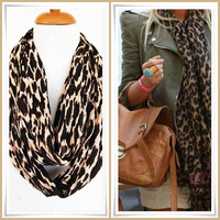 Brown Leopard Infinity Cotton Scarf, Long Scarf, Winter Trends, Gift