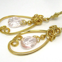 Rose Quartz Cocktail Earrings, 14k Gold Filled New Years Eve Asymetrical Pink Gemstone Fine Jewelry Gift For Her