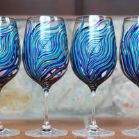 Amethyst and Sapphire Peacock Wine GlassesSet by MaryElizabethArts